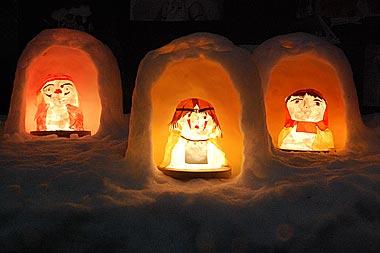 もののけ姫の雪の灯籠